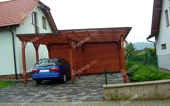 Деревянный навес для автомобилей